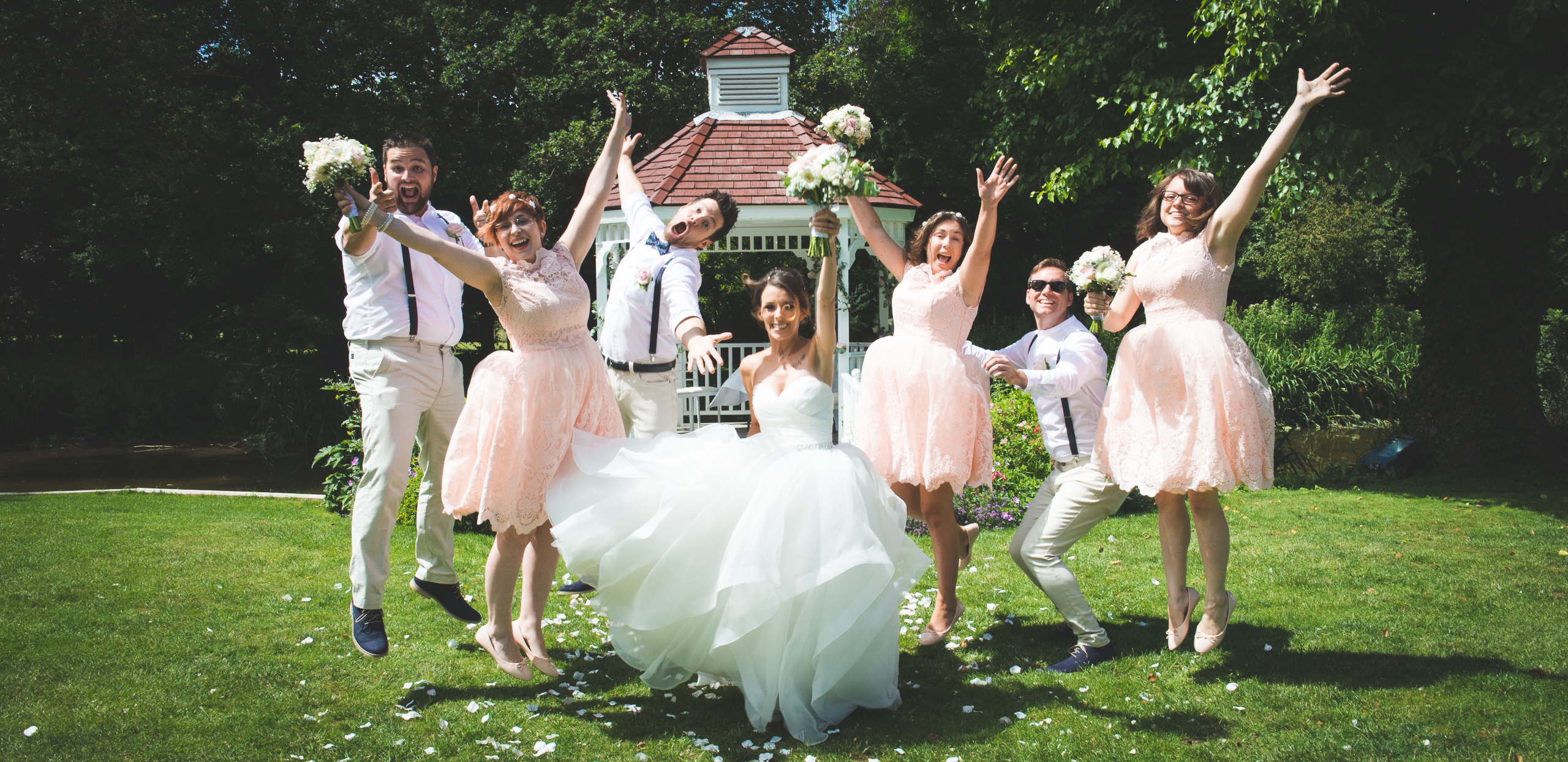 Wedding Party, All Jump Together, Sheene Mill, wedding photographer wedding photography