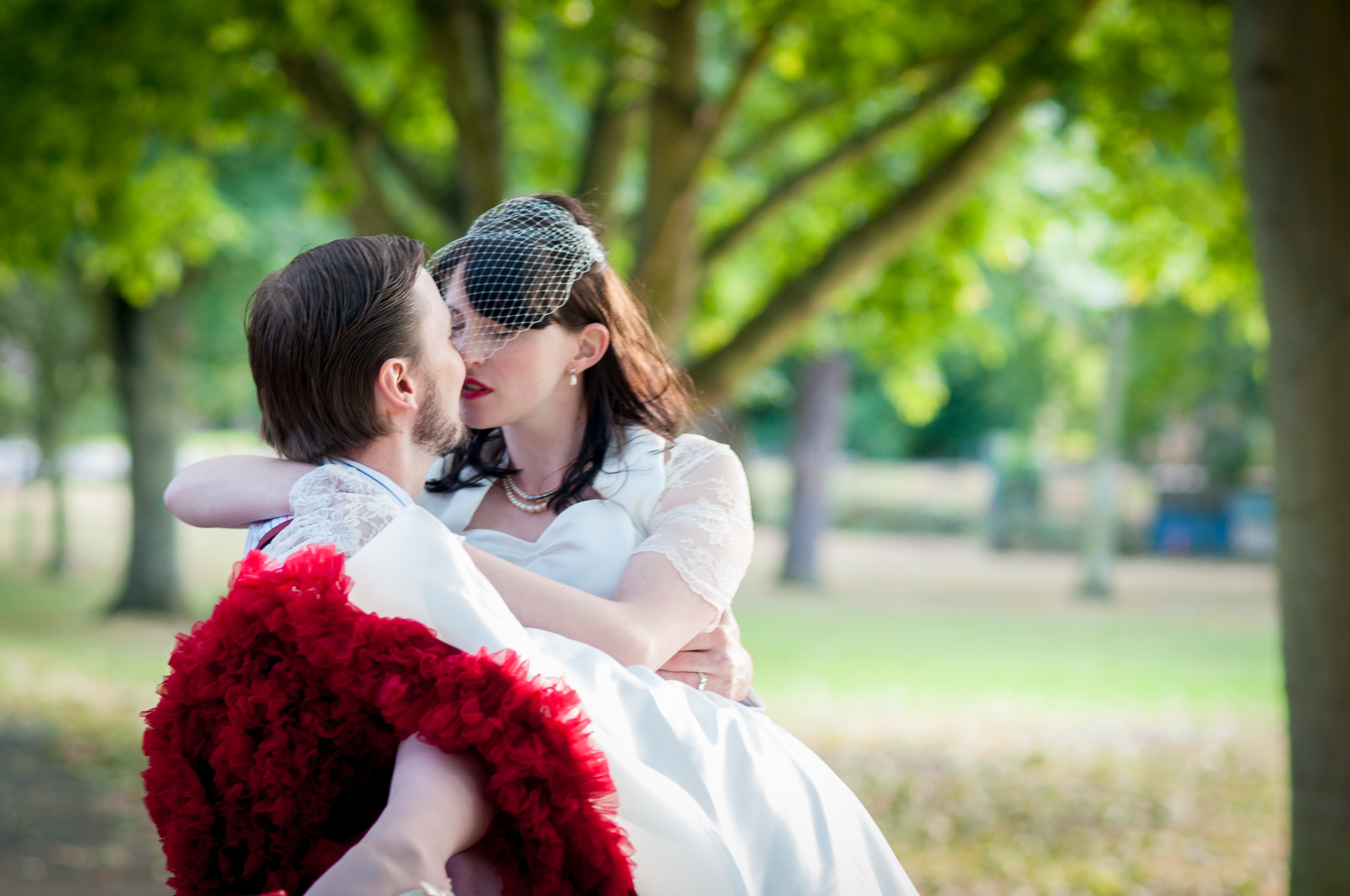 vintage wedding shoot, red underskirt