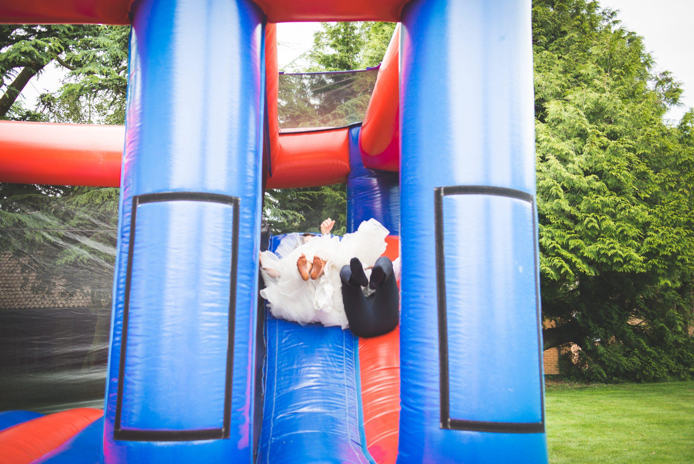 Bouncy castle shot, wedding photography