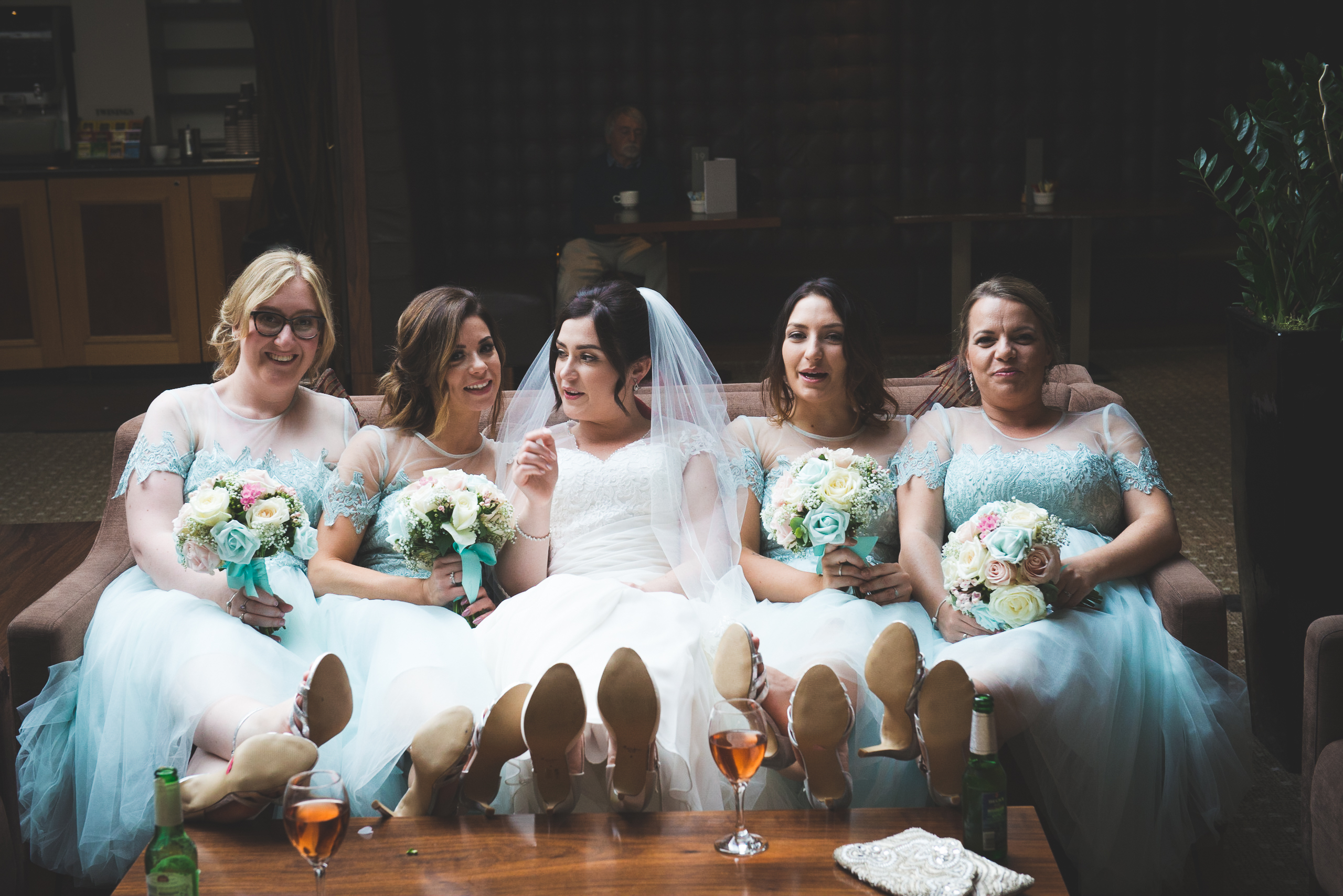 Bridesmaids, Bride, shoes, putting your feet up